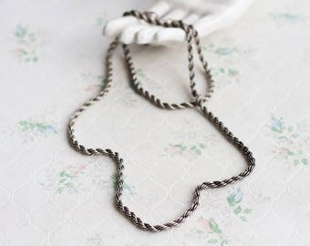 Long Rope Chain Necklace - Pewter - Chunky long chain