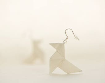 Sterling silver white origami earrings