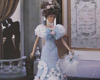 Annie's Attic Crochet Fashion Bed Doll Pattern Miss June 1995 Turn of Century Barbie Doll Dress original pattern