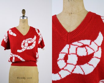 80s Koret Red and White Sweater / Cropped Sweater / Deadstock / Knot Sweater/ Nautical / Size S/M