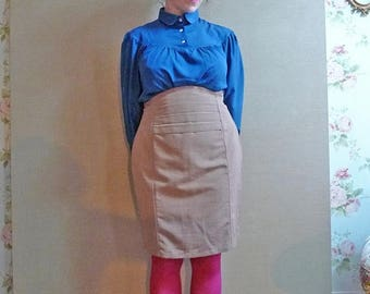 50%DISCOUNT 80s beige scalloped highwaisted wiggle pencil skirt L.