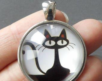 "2pcs-1.5"" black kitty glass dome round cab pendant-antique silver tone"