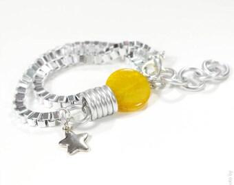 Yellow Agate Bracelet-Necklace,Gamestone bracelet,Pedant necklace,Gamestone Necklace,Contemporary Bracelet,Aluminum Bracelet,Valentines day