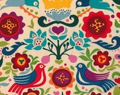 LAMINATED cotton fabric by the yard - Sold by the 1/2 yard - La Paloma tea - Alexander Henry - Approved for children