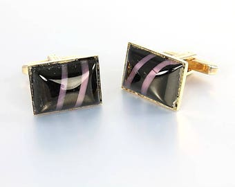 Art glass Hickok Cufflinks, Black Lavender Striped Glass, Vintage Mens Jewelry Accessories