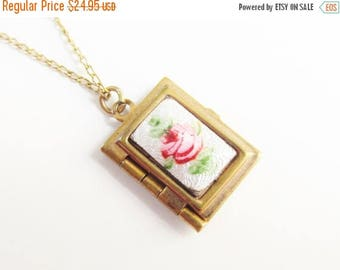 ON SALE Enameled Guilloche Rose Book Locket Pendant Necklace GF