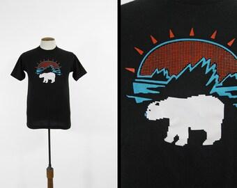 Vintage Polar Bear T-shirt Pixilated Lo Fi Black Sunrise Arctic Iceberg Sportswear - Small / Medium