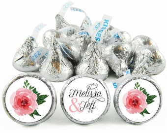 Set of 108 - Pink Flowers Script Stickers for Hershey's Kisses. Wedding Labels for Kiss - Wedding Party Favors - #IDWED703