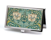 Victorian style William Morris Business Card Case,  Floral Credit Card Case, Retro Credit Card Holder, Vintage Morris Honeysuckle Print