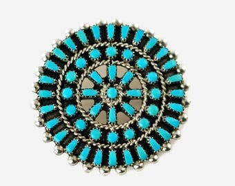 Vintage Zuni Cluster Needle Point Turquoise Convertible Pendant Brooch Wagon Wheel Sun Motif