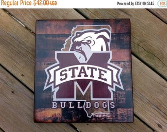 ON SALE Mississippi State Bulldogs distressed wood plaque, 12x12, originial design, gift, football, rebels, wood sign