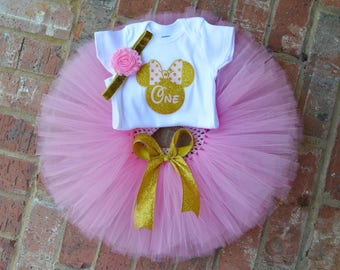 minnie mouse 1st birthday outfit, Pink and gold minnie birthday outfit, pink gold first birthday minnie mouse 1st birthday,