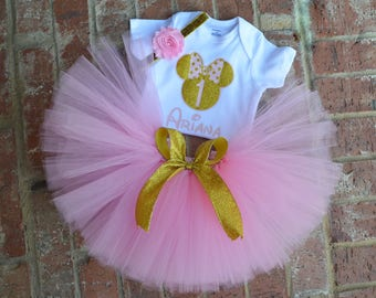 minnie mouse 1st birthday PERSONALIZED outfit, Pink and gold minnie birthday outfit, pink gold first birthday minnie mouse 1st birthday,