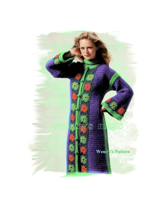 Instant Download PDF Crochet Pattern to make a Womens Maxi Kaftan Calf Length Hippy Coat Granny Squares Border to fit 32 to 38 inch bust