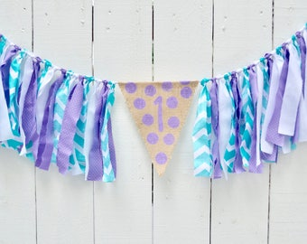 Girl Birthday Banner - Mermaid Birthday - Girl 1st Birthday Decor - Birthday Banner - High Chair Decorations - Under the Sea Party