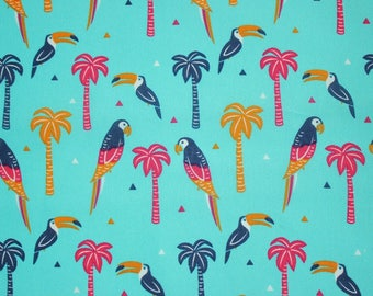 Parrot fabric, toucan fabric, palm tree fabric, tropical birds cotton fabric, tropical quilting cotton, tropical vacation quilt cotton, UK
