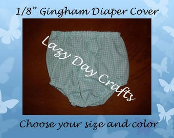 "1/8"" Gingham Check Diaper Cover - Many Colors Available - Infant Size Newborn to 24 months"