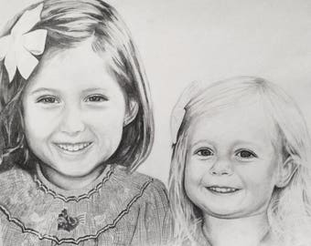 9x12 Custom portrait sketch, multi-subject