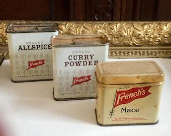 Three Vintage French's Spice Tins