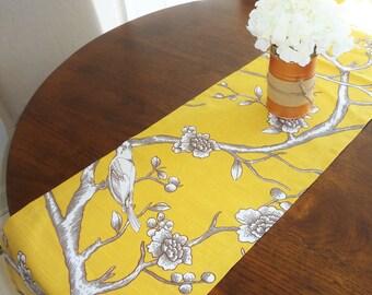 Robert Allen Dwell Studio Gold Mustard Bird Leaf Branch Table Runner Home Decor 12x72