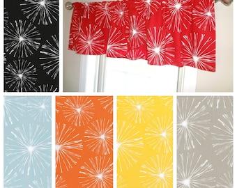 Curtain Valance Topper Window Treatment 52x15 Sparks Dandelion Floral Valance Red Black Orange Spa Blue Yellow Home Decor