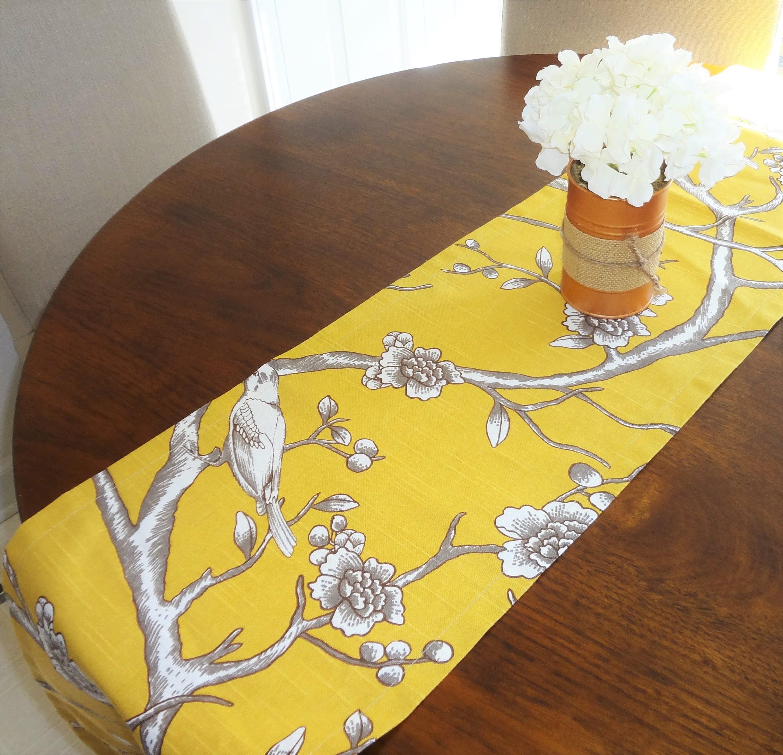 Robert Allen Dwell Studio Gold Mustard Bird Leaf Branch Table
