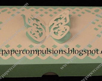 Lattice Deco Edged Gift Box and Butterfly cut files SVG, MTC, SCAL