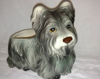 Skye Terrier Planter - Inarco Japan - 1960s - Rare