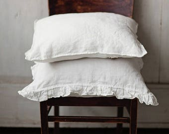 White Linen Pillowcase 50x50cm, Pillowcase with ruffles, Bedding, Linen for Home