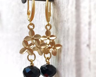 Black Earrings - Crystal Jewellery - Gold Jewelry - Flower Connector - Fashion