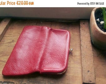 ON SALE Versatile 1950s Genuine Leather Clutch Hand Bag Wallet Red