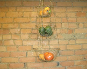 Vintage Hanging Wire Mesh Baskets-Three Tier