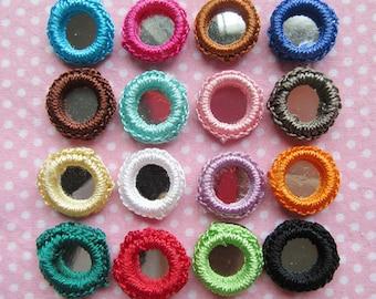 64 Crochet Gypst Hippy Mirror Bead 16mm Appliques-16 Colors