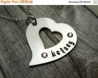 SALE Heart mothers necklace with birthstones, personalized mothers gift