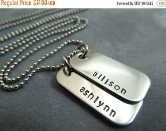 SALE Personalized Mother's necklace, handstamped stainless steel mini dog tags
