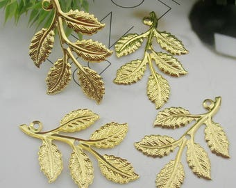 8pcs Gold Plated Leaves  Filigree Charms,32X50mm (LV-054)