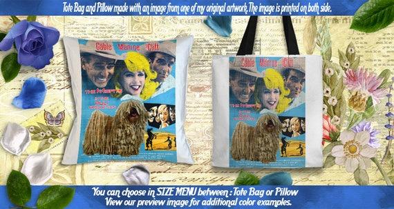 Puli Pillow or Tote Bag/Puli Art/Puli Portrait/Dog Tote Bag/Dog Pillow/Dog Art/Custom Dog Portrait/The Misfits Movie Poster