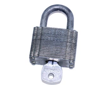 Vintage Cylinder Padlock with Key   Heavy Duty Sears Lock   Sears Padlock   Pin Tumbler Lock   Old Padlock with Grooved Sides