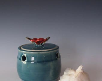 Ceramic, wheel thrown garlic jar- blue with red flower handle
