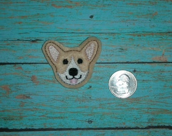 Corgi Face Head Dog Feltie Light Brown felt - Great for Hair Bows, Reels, Clips and Crafts - Cute Puppy Animal