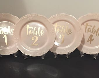 Light Pink Plate Table Numbers