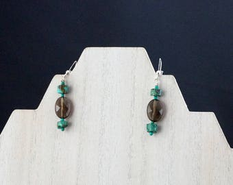 Faceted Smoky Quartz with Rouge Turquoise Earrings