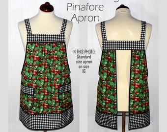 RETRO APRON, Strawberries + Gingham Pinafore, no tie apron, loose-fitting smock, comfortable all day apron, made-to-order XS to Plus Size