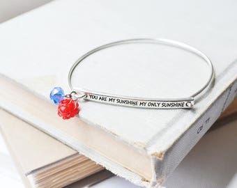 You Are My Sunshine Bangle Bracelet with Red Rose