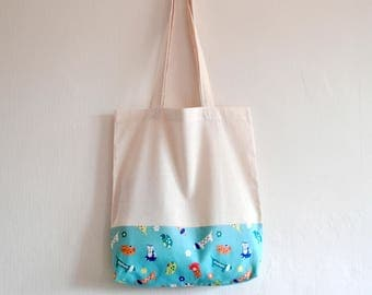 Shopper eco friendly tote market bag scandinavian inspired dachshund dog and cat animal flower print cotton zero waste produce shoulder bag.