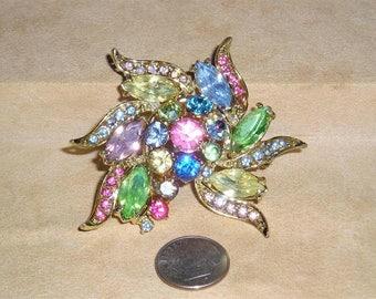 Vintage Multicolored Rhinestone Brooch 1950's Jewelry 11110