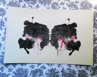 Origional 1950s Rorschach Holtzman Inkblot Test Card  psychological test