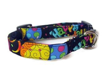Happy Birthday Dog Collar size Medium