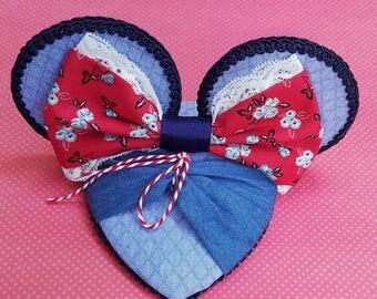 Belle Blue Town Dress Mouse Ear Fascinator FascinEar