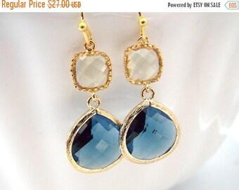 SALE Blue Earrings, Glass Earrings, Yellow Earrings, Jonquil, Gold Earrings, Wedding, Bridesmaid Earrings, Bridal, Bridesmaid Gifts